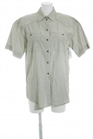 Nadine H. Short Sleeved Blouse green grey-oatmeal striped pattern casual look