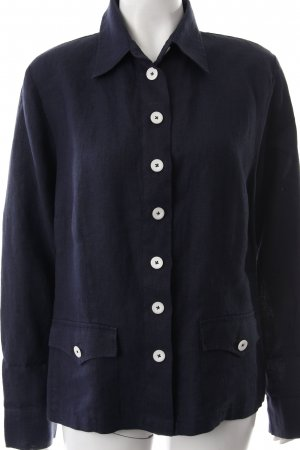 Nadine H. Blusa de lino azul oscuro look casual