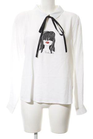 Nadine H. Oversized Bluse weiß Motivdruck Paris-Look