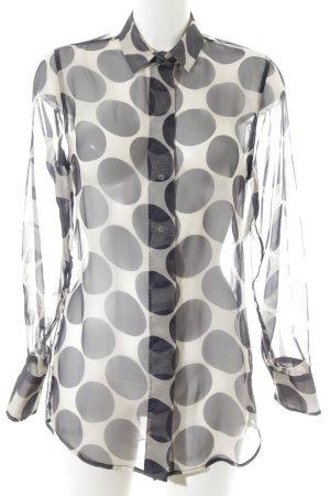 Nadine H. Transparenz-Bluse dunkelblau-weiß abstrakter Druck Casual-Look