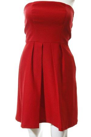 Naf naf Vestido bandeau rojo estampado a cuadros estilo romántico