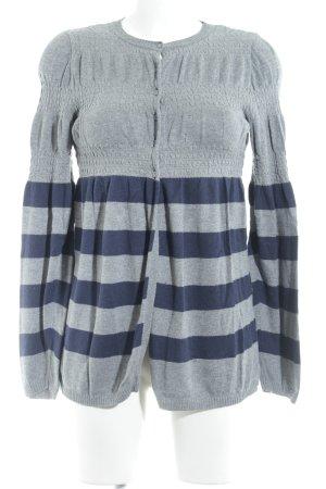 Naf naf Cardigan grau-dunkelblau Streifenmuster Casual-Look