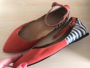 Naf Naf Echtleder Ballerinas 41 koralle zebra Sommer