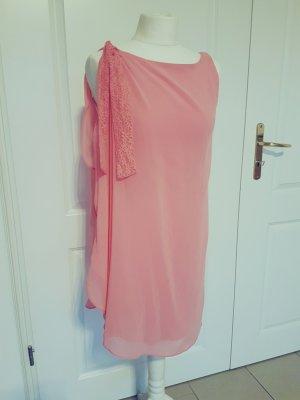 Naf Naf Kleid rosa Schleife Volants pink M