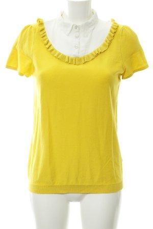 Naf naf Kurzarm-Bluse gelb-creme Casual-Look