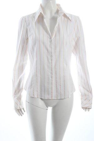 Naf naf Langarm-Bluse weiß-beige Streifenmuster Business-Look
