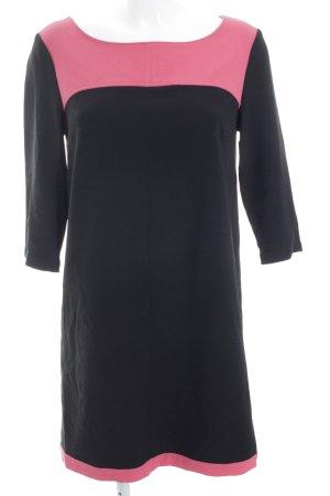 Naf naf Langarmkleid schwarz-magenta Colourblocking klassischer Stil
