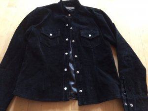 Naf naf Leather Shirt black suede