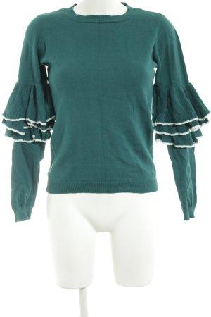 Naf naf Rundhalspullover grün-weiß Streifenmuster Casual-Look