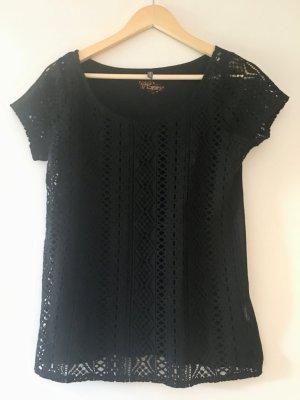 Naf naf Camisa de ganchillo negro