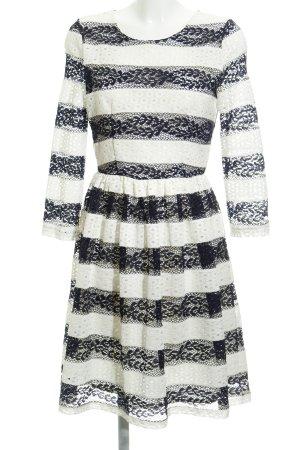 Naf naf Lace Dress white-dark blue striped pattern retro look