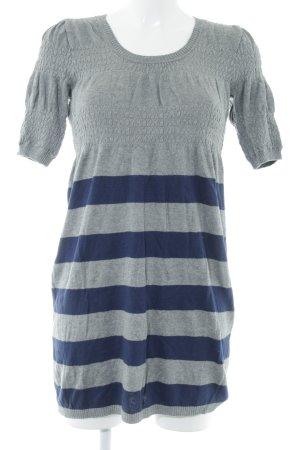 Naf naf Strickkleid grau-dunkelblau Streifenmuster Casual-Look