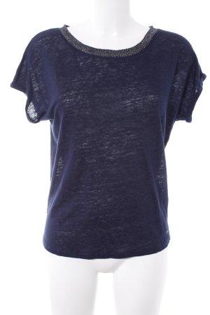 Naf naf Camisa tejida azul oscuro-color plata look casual