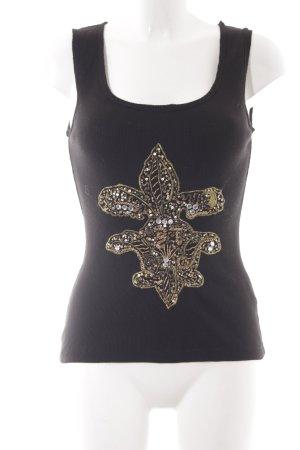 Naf naf Tanktop schwarz-goldfarben abstraktes Muster extravaganter Stil