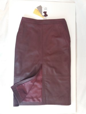 H&M Premium Gonna in pelle bordeaux