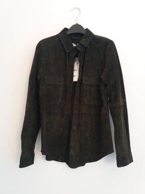 Zara Lederen blouse donkergroen-khaki