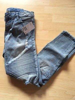 H&M Divided Jeans da motociclista blu-azzurro