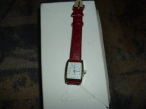 Watch neon red imitation leather