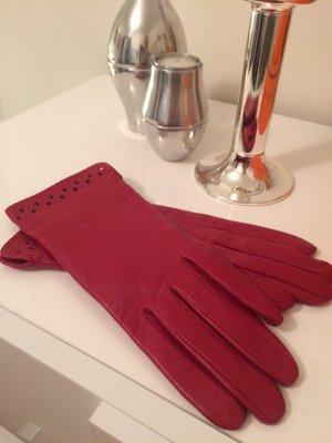 Leren handschoenen baksteenrood