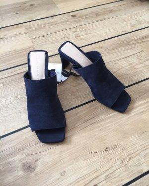Zara Heel Pantolettes dark blue