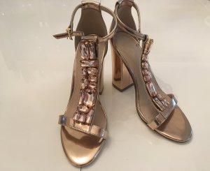 Asos Zapatos de tacón con barra en T marrón arena Imitación de cuero