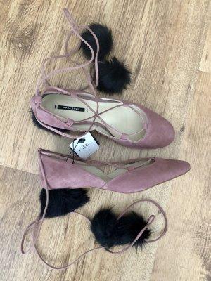 Zara Tacones con cordones rosa empolvado-negro