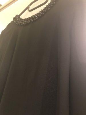 Nagelneue schwarze Chiffonbluse mit Perlen