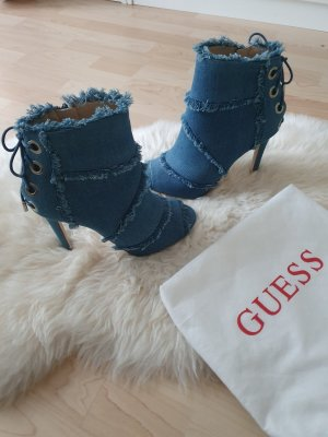Guess Peep Toe Booties steel blue