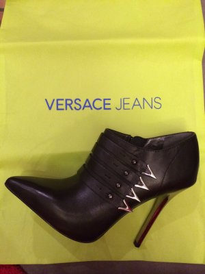 Versace Booties black-silver-colored