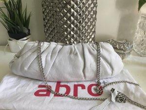 nagelneue weiße Echtleder-Clutch mit Silberkette (optimal für zb. Hochzeit)