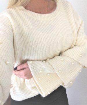 Oversized Sweater white-natural white mixture fibre