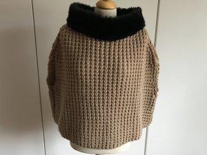 Poncho marrón claro-marrón-negro
