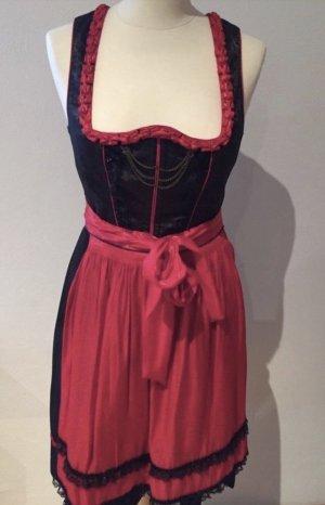 Spieth & Wensky Vestido Dirndl negro-rojo oscuro