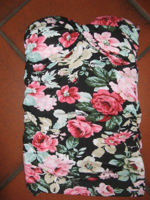 Nagelneues Stylisches push up bandeau schulterfrei longtop flowers blumen neu
