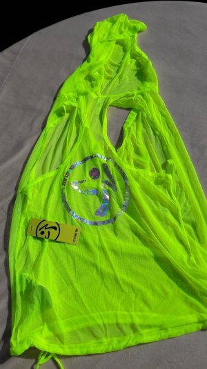 "Nagelneues, transparentes ZUMBA FitnessTop ""Glow Dreamer""  neongelb Gr. S-L"