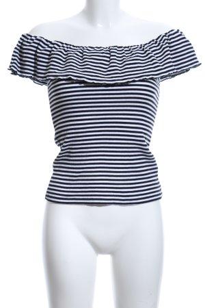 Nakd Carmen Shirt black-white striped pattern casual look
