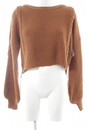 Nakd Grobstrickpullover rostrot Zopfmuster Casual-Look