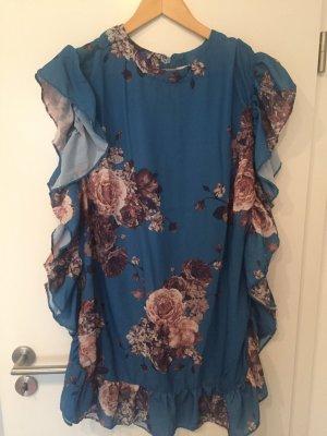 Nakd Kleid Sommerkleid mit Blumen florales muster blau Hochzeit