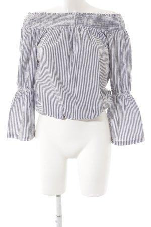 Nakd Langarm-Bluse graublau-weiß Streifenmuster Casual-Look