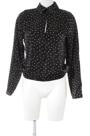 Nakd Langarm-Bluse schwarz-sandbraun Punktemuster Casual-Look