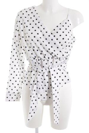 Nakd Langarm-Bluse weiß-schwarz Punktemuster Street-Fashion-Look