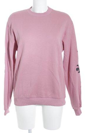 Nakd Rundhalspullover rosa-schwarz Blumenmuster Casual-Look