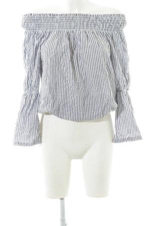Nakd Slip-over blouse staalblauw-wit gestreept patroon casual uitstraling