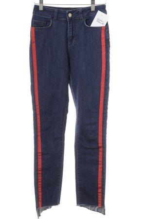 Nakd Skinny Jeans blau-rot Streifenmuster Casual-Look