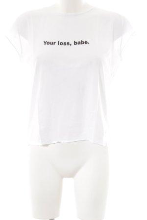 Nakd T-Shirt weiß Schriftzug gedruckt sportlicher Stil