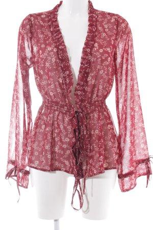 Nakd Blouse transparente vieux rose-rouge carmin motif de fleur