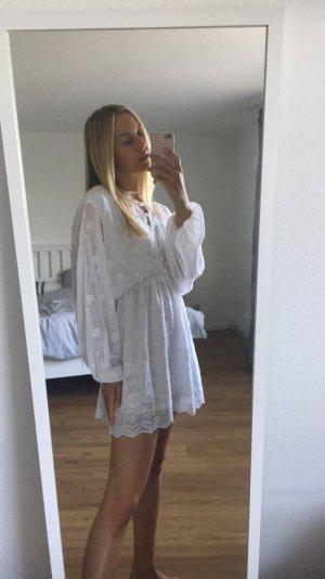 Nakd weißes Kleid mit spitze und langen Ärmeln 36