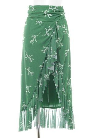 Nakd Jupe portefeuille vert forêt-blanc motif floral style festif