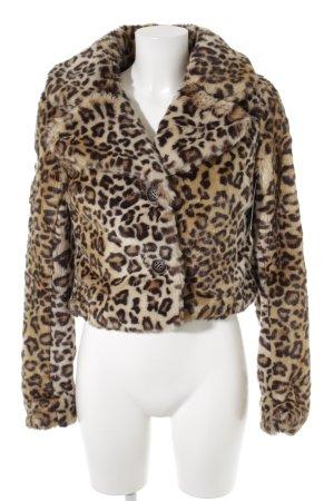 Naketano Giacca di pelliccia color cammello-marrone scuro Stampa leopardata