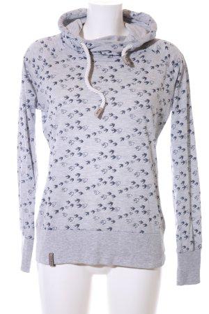 Naketano Hooded Sweater light grey-black allover print casual look